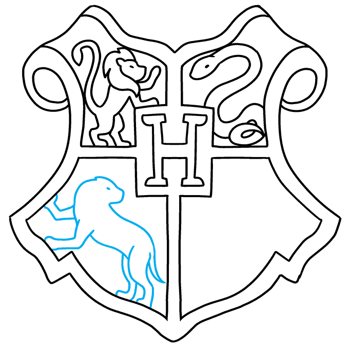 how to Draw a Hogwarts Crest Step 08
