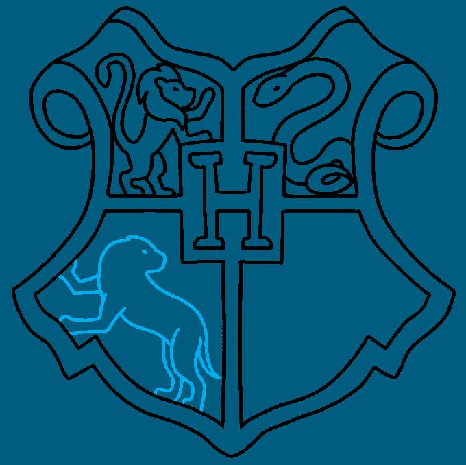 How to Draw Hogwarts Crest: Step 8