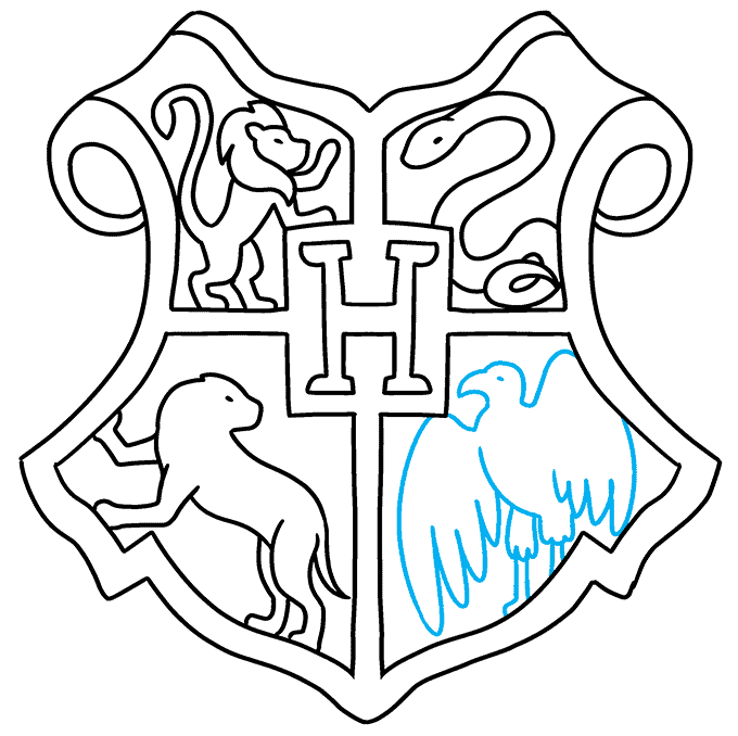 how to Draw a Hogwarts Crest Step 09