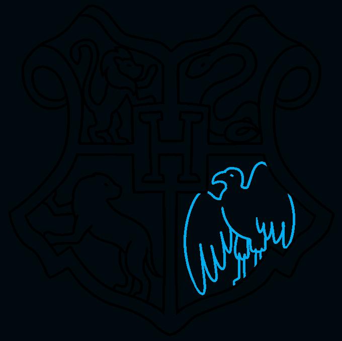 How to Draw Hogwarts Crest: Step 9