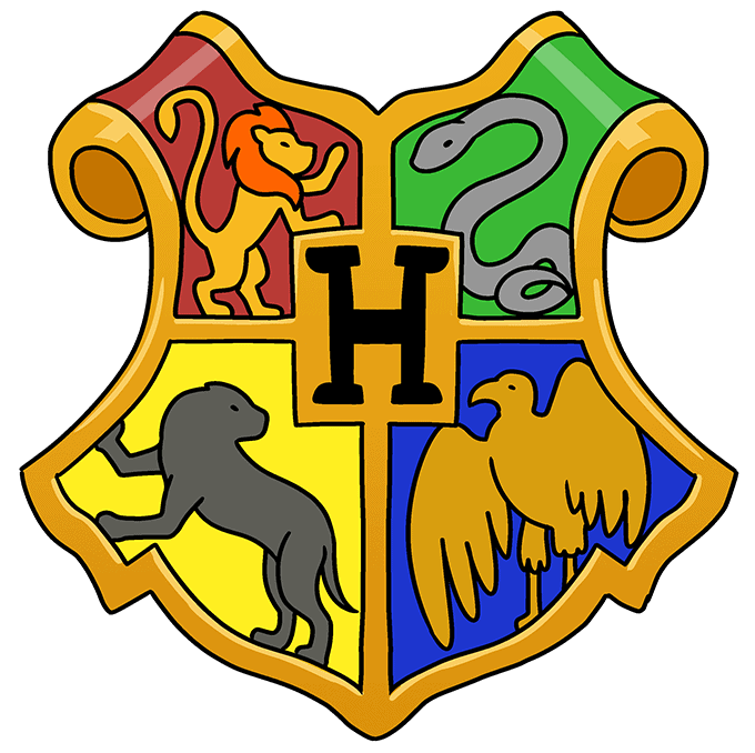 How to Draw Hogwarts Crest: Step 10