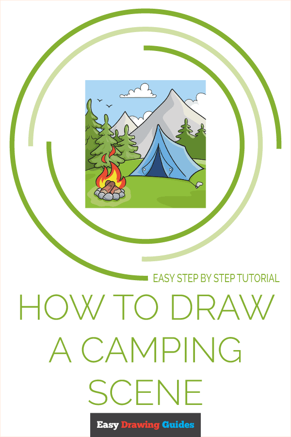 How to Draw a Camping Scene Pinterest Image