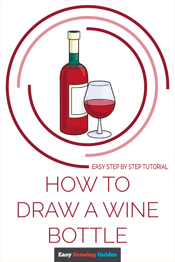How to Draw a Wine Bottle Pinterest Image