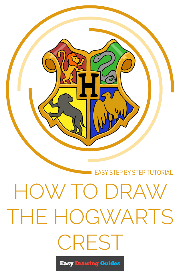 How to Draw Hogwarts Crest | Share to Pinterest