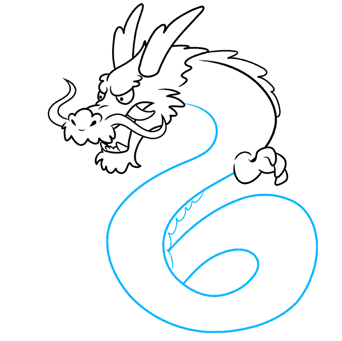 How to Draw Japanese Dragon: Step 7