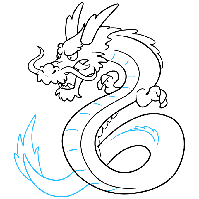 How to Draw Japanese Dragon: Step 9