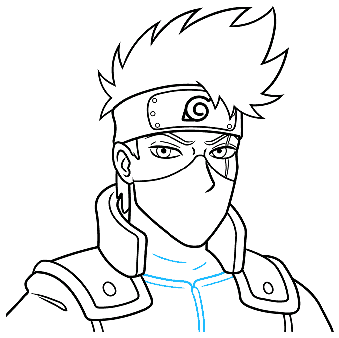 How to Draw Kakashi Hatake From Naruto Step 09