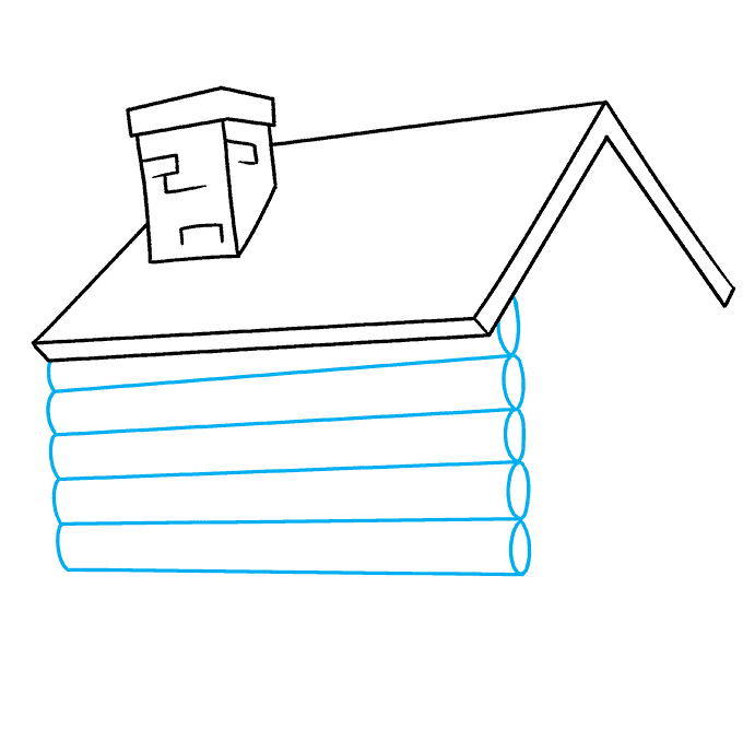 How to Draw Log Cabin: Step 3