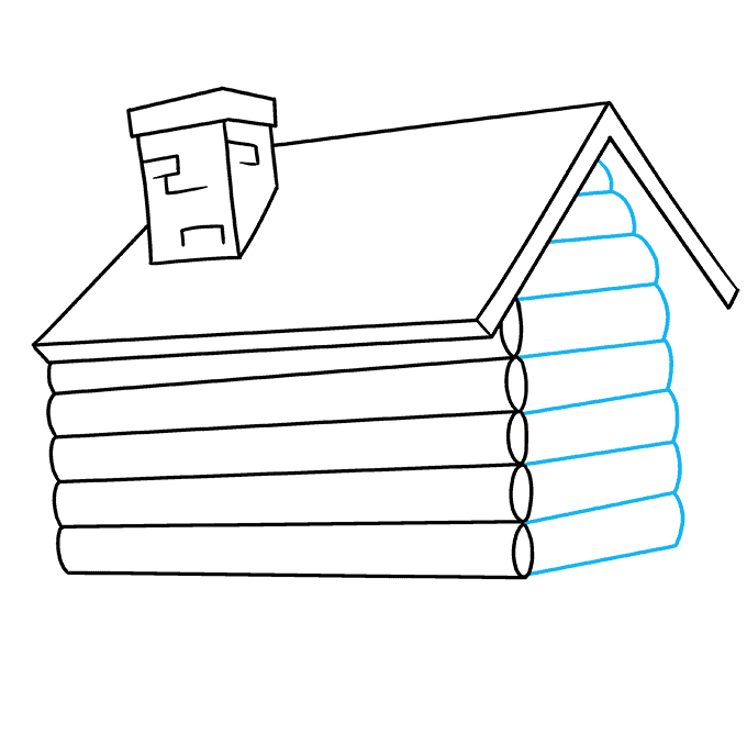How to Draw Log Cabin: Step 4