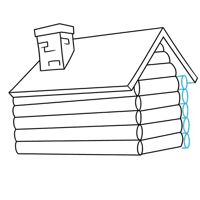 How to Draw Log Cabin: Step 5