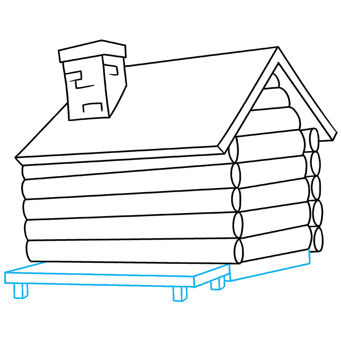 How to Draw Log Cabin: Step 6