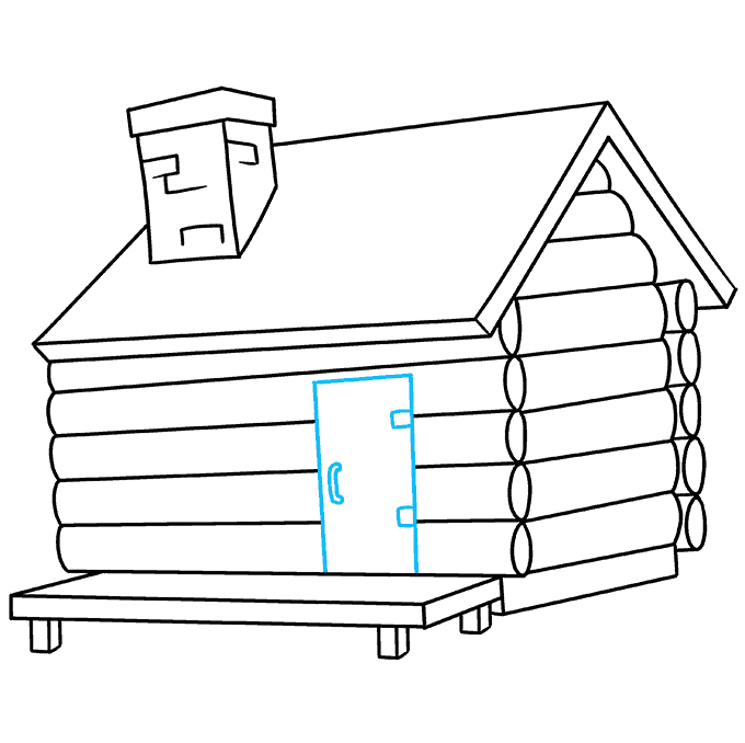 How to Draw Log Cabin: Step 7