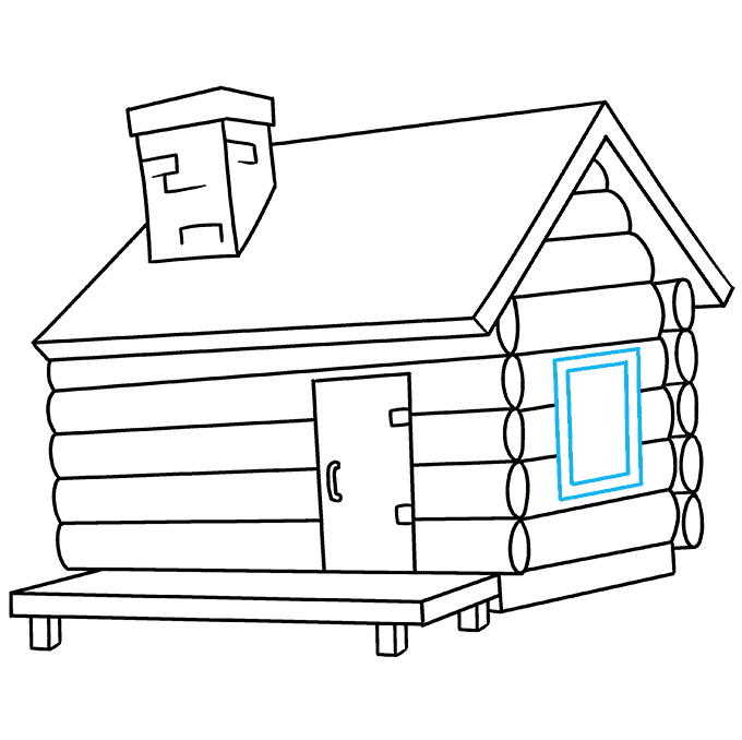 How to Draw Log Cabin: Step 8