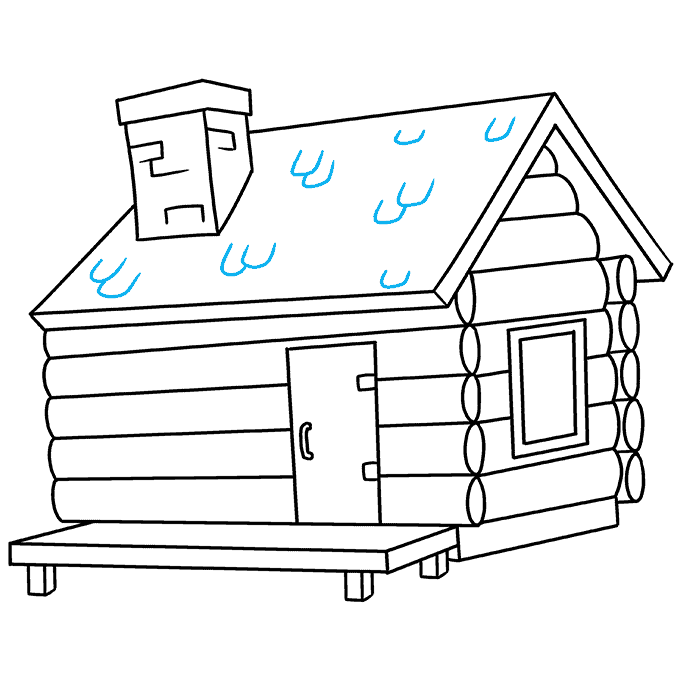 How to Draw Log Cabin: Step 9