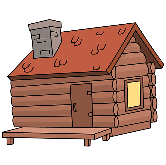 How to Draw Log Cabin: Step 10