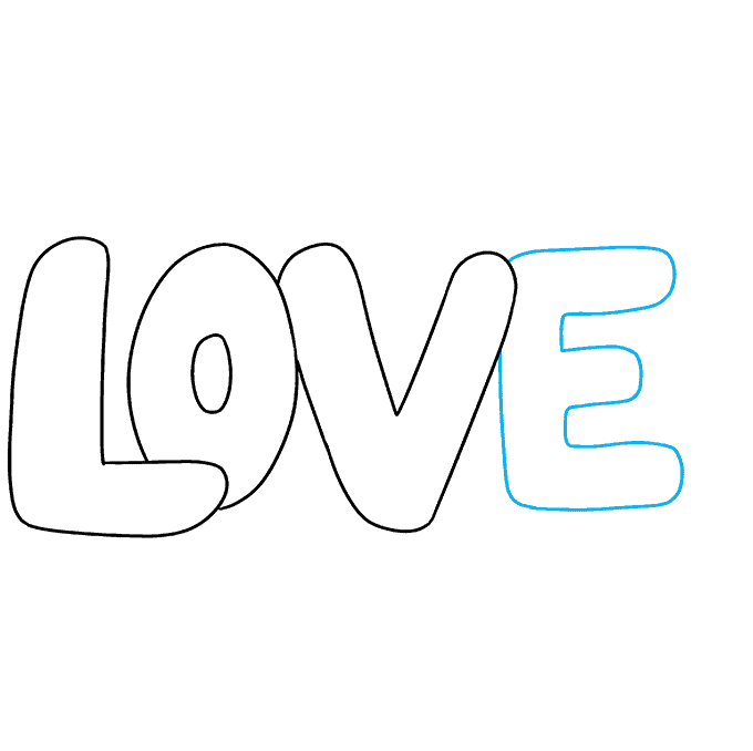 How to Draw Love in Bubble Letters: Step 4
