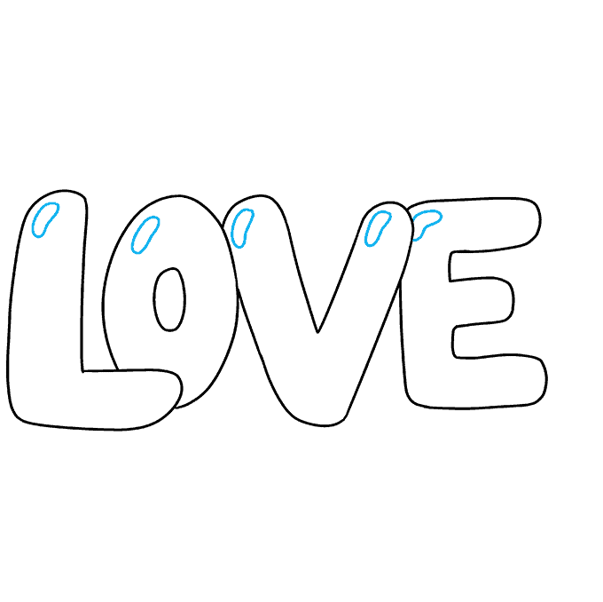 How to Draw Love in Bubble Letters: Step 5