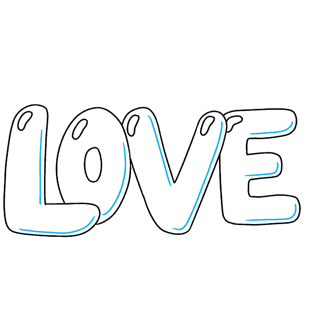 How to Draw Love in Bubble Letters: Step 6