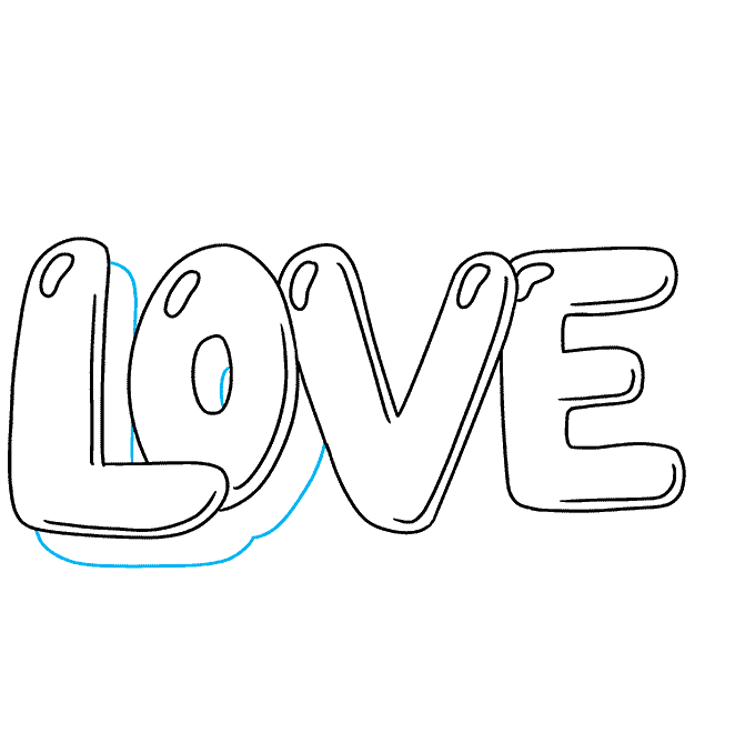 How to Draw Love in Bubble Letters: Step 7