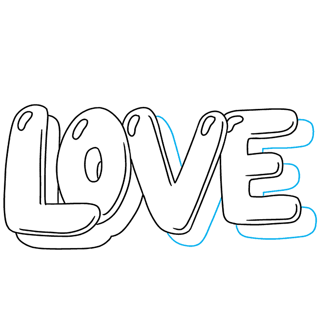 How to Draw Love in Bubble Letters: Step 8
