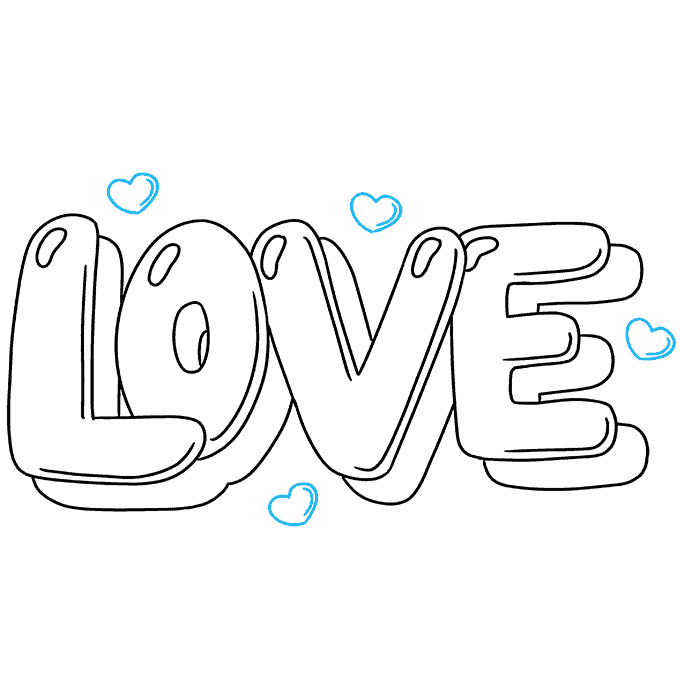 How to Draw Love in Bubble Letters: Step 9