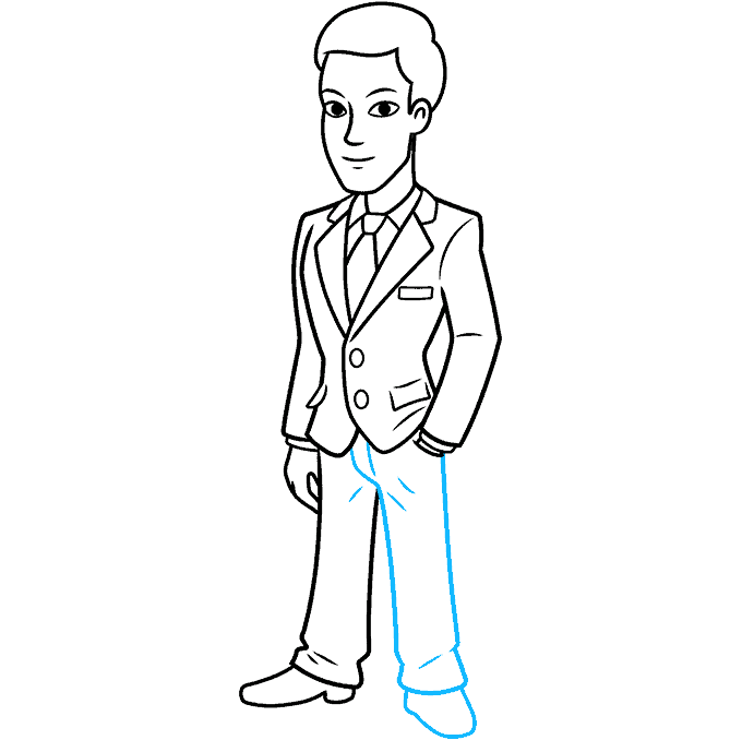 How to Draw Man in Suit: Step 9