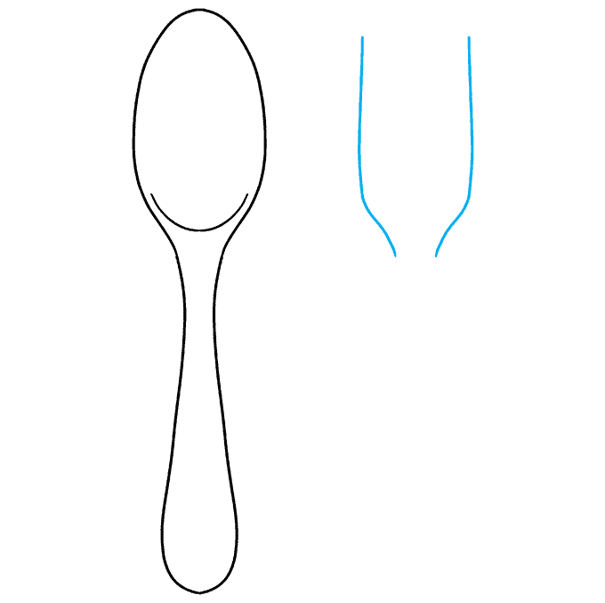 How to Draw Spoon and Fork: Step 4