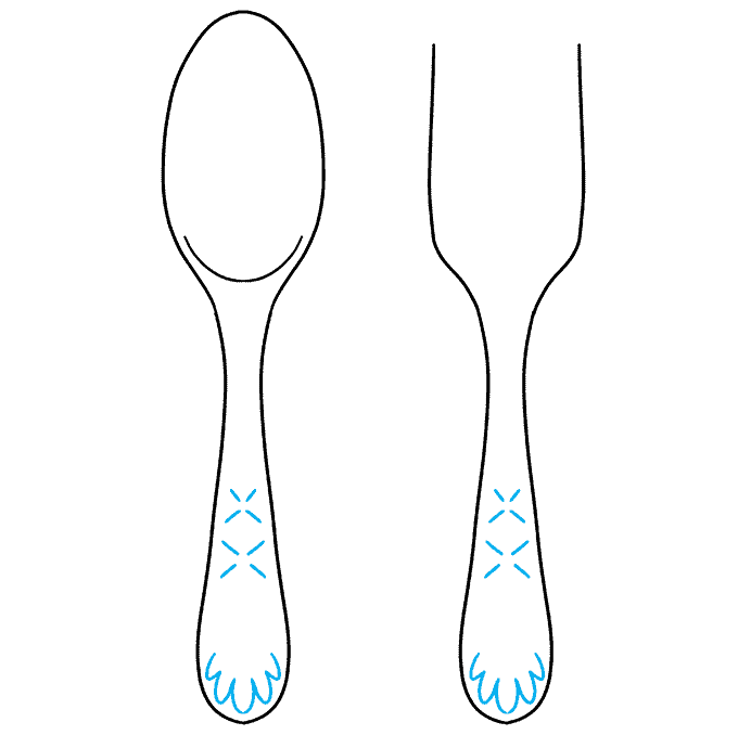 How to Draw a Spoon and Fork Step 06