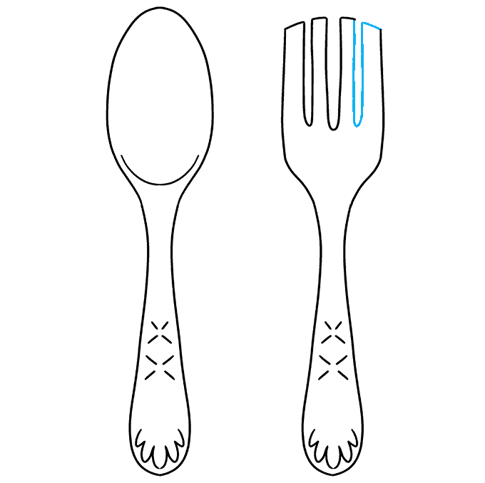 How to Draw a Spoon and Fork Step 09
