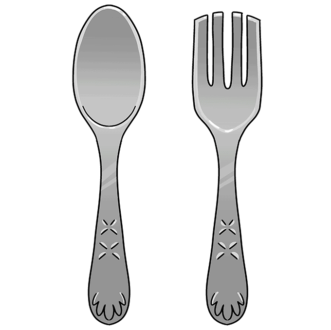 How to Draw a Spoon and Fork Step 10