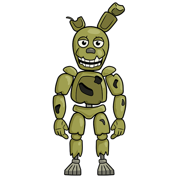 How to Draw Springtrap from Five Nights at Freddy's: Step 10