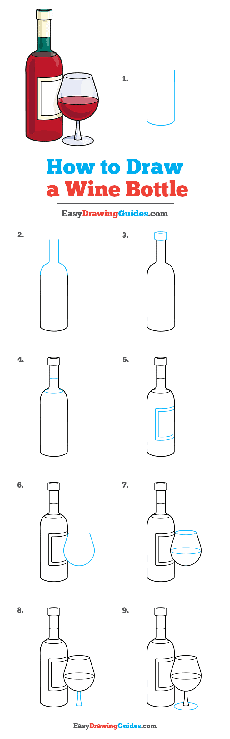 How to Draw a Wine Bottle Step by Step Tutorial Image