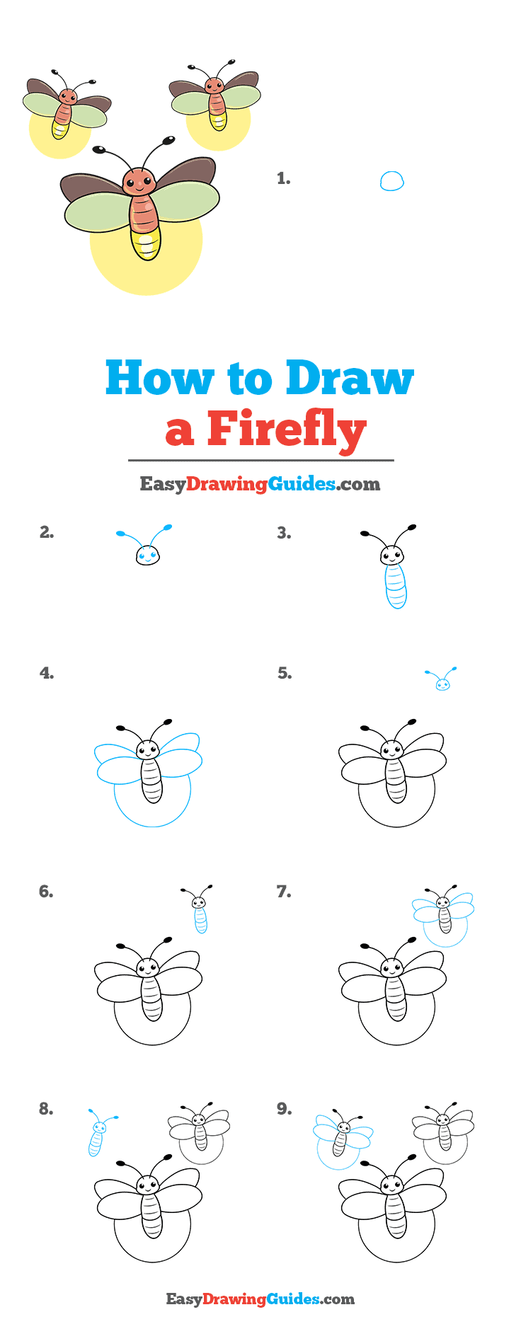 How to Draw a Firefly Step by Step Tutorial Image