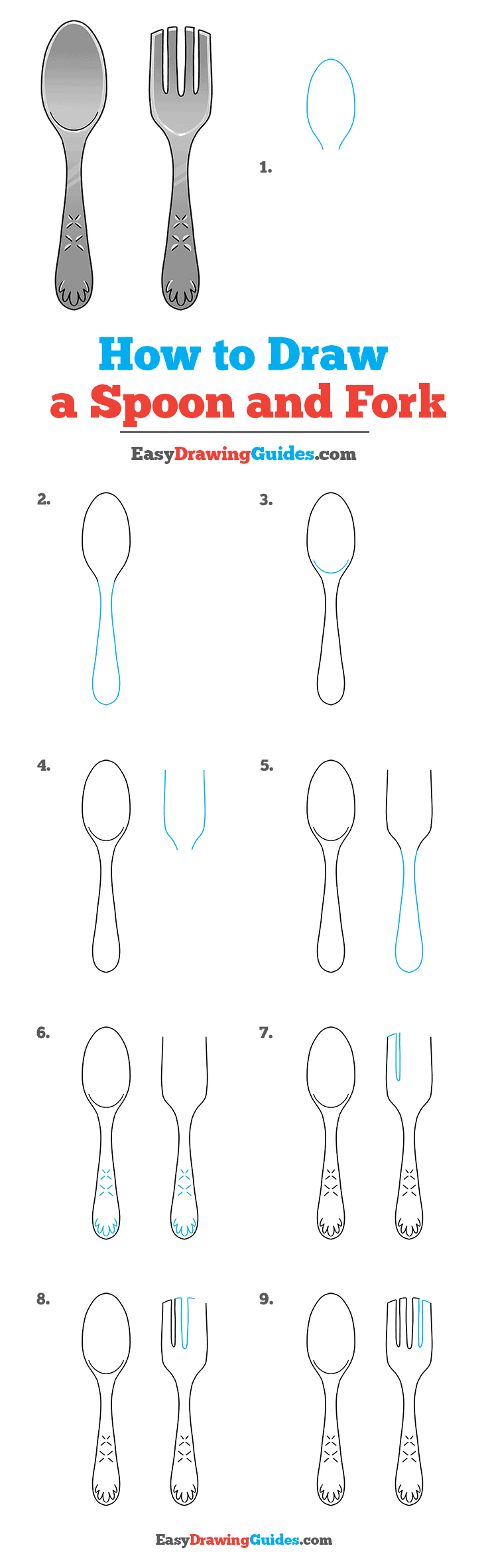 How to Draw a Spoon and Fork Step by Step Tutorial Image
