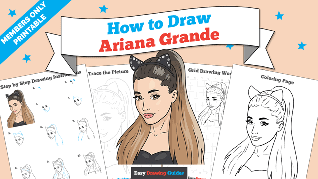 download a printable PDF of Ariana Grande drawing tutorial
