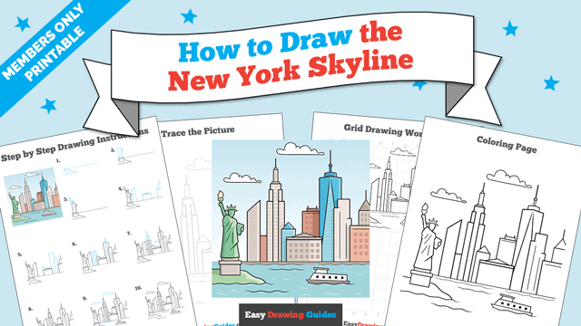 download a printable PDF of New York Skyline drawing tutorial