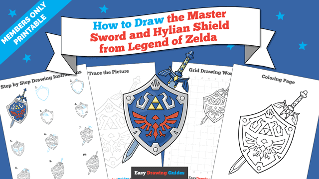 download a printable PDF of The Master Sword and Hylian Shield from the Legend of Zelda drawing tutorial