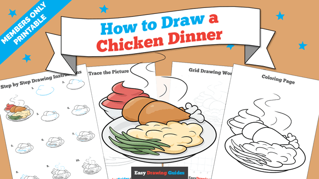 download a printable PDF of Chicken Dinner drawing tutorial