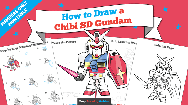 download a printable PDF of Chibi SD Gundam drawing tutorial