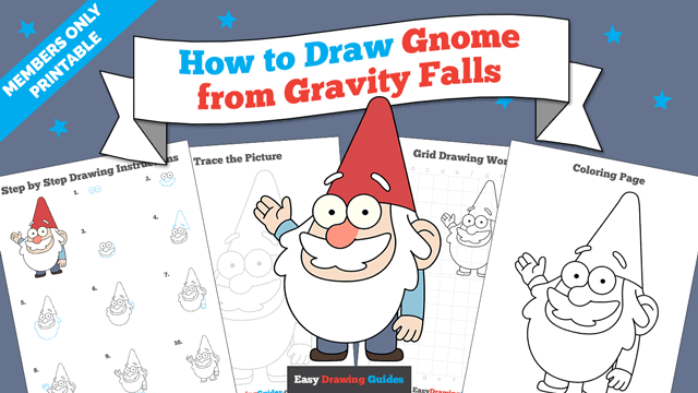 download a printable PDF of Gnome from Gravity Falls drawing tutorial
