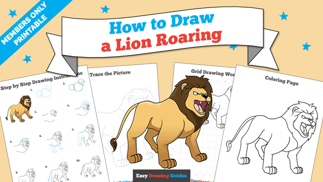 download a printable PDF of Lion Roaring drawing tutorial