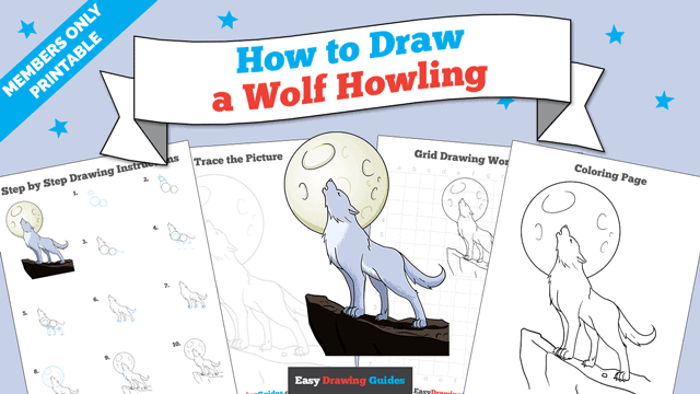 download a printable PDF of Wolf Howling drawing tutorial