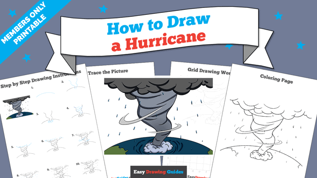download a printable PDF of Hurricane drawing tutorial