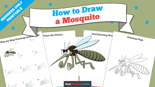 download a printable PDF of Mosquito drawing tutorial