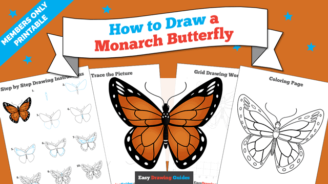 download a printable PDF of Monarch Butterfly drawing tutorial