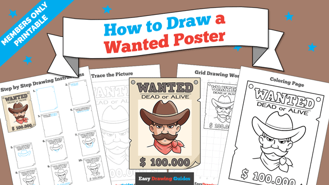 download a printable PDF of Wanted Poster drawing tutorial