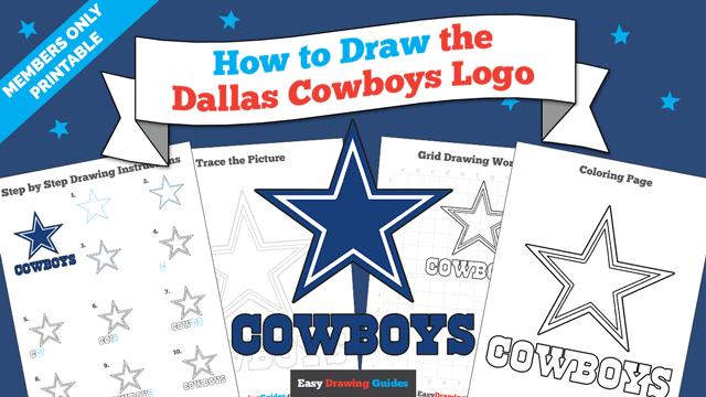 download a printable PDF of Dallas Cowboys Logo drawing tutorial