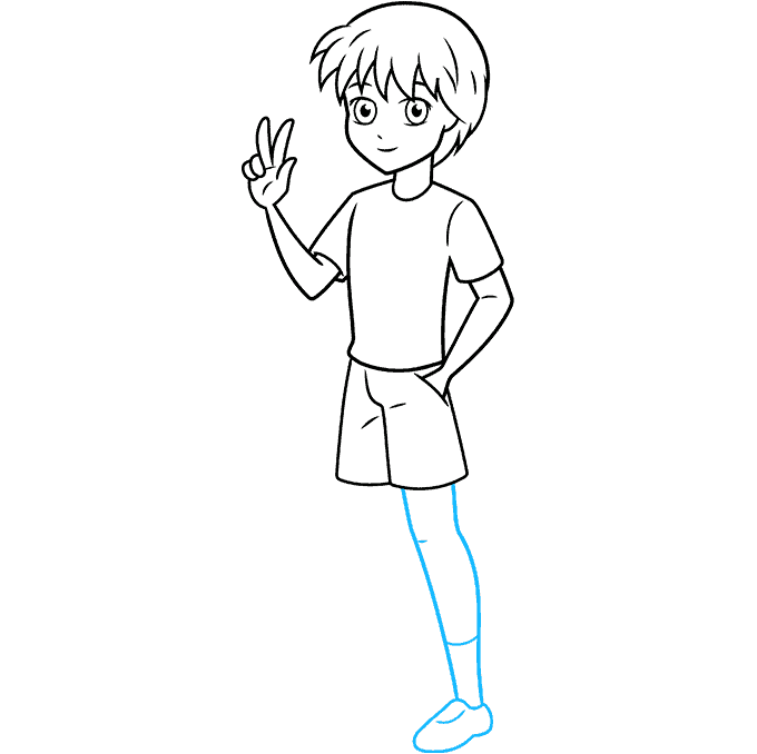 How to Draw an Anime Boy Full Body Step 08