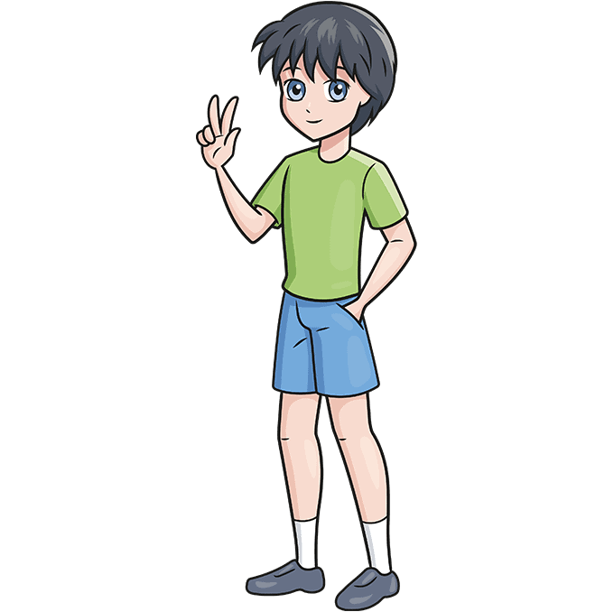 How to Draw an Anime Boy Full Body Step 10