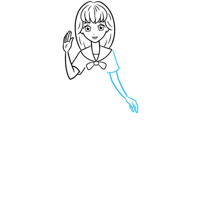 How to Draw an Anime School Girl Step 06